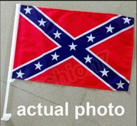 Wholesale Confederate Rebel Car Flags Window Flag Rebel Civil War Flags National Polyester Small Flag CM One Side Printed Factory Price Free UPS