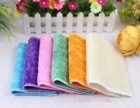 Bamboo kitchen towels - high efficient color dish cloth bamboo fiber washing dish towel magic Kitchen cleaning cloth wipping rag TY300