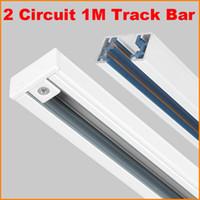 aluminium rail system - DHL Free M Wire Circuit phase Aluminium Track Rail For LED Spotlight Lighting Track Systems Spot Light Rail ceiling Meter Black White