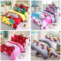 Cheap new 2016 high quality 3D Hello kitty 4 pcs bedding set duvet cover bed sheet Pillowcase set bed linens bedclothes
