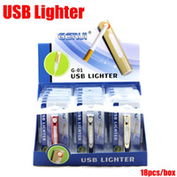 Wholesale Portable USB Lighter Electronic Rechargeable Aluminium Cigar Lighter Cigarette Flameless Lighter Windproof Currency Detector with retail box