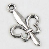Traditional Charm fleur de lis - MIC New Tibetan Silver X14mm fleur de lis flower Charms Pendants Findings Jewelry DIY Jewelry Findings Components Fit Necklace