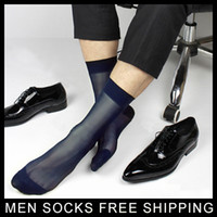 best mens dress socks - Black Navy Male Suit dress Sexy silk Socks Sheer Mens Formal Socks Best quality Man At play Transparent men SM socks