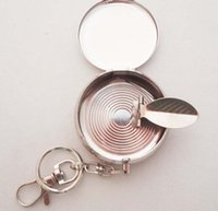 Wholesale High quality Hot New Pocket Stainless Steel Portable Round Cigarette Ashtray With Keychain