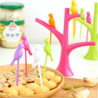 Wholesale Vogue Home Decor Party Bird Fruit Snack Dessert Forks Tool Tree Shape Rack