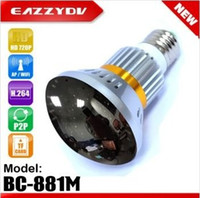Wholesale DHL BC M HD720P Mirror Cover Hidden Bulb Wifi Security DVR IP Camera INVISIBLE light to human eye at night