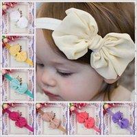 chiffon fabric - 2015 Childrens Best Sale Headband New Arrival Girls European Style Chiffon Bow Fabric Headband Kids Colors Princess Hair Accessories