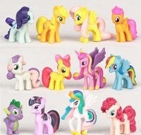 Wholesale Cartoon My Little Pony Cake Toppers Doll PVC Action Figures Toys Colourful set cm with opp bag packing Xmas Gift