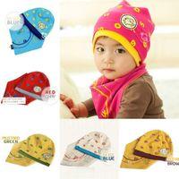 Wholesale Fall Kids Baby Boys Girls Soft Knit Hat Cap Triangle Bibs Saliva Towel Sets
