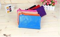 Wholesale 2015 new fashion lady zipper crocodile clutch purse handbag bag phone