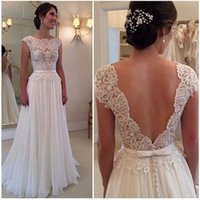 Wholesale Charming Lace Bodice A Line Wedding Dresses Scalloped Neck Cap Sleeve Sash Open Back Sweep Train Bridal Gowns Cheap Wedding Gowns