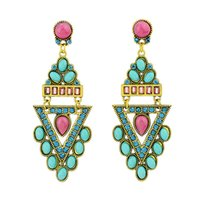 Wholesale Brinco Franja Simulated Gemstone Jewelry Geometric Four Color Long Drop Earrings Brincos for Lovely Girl