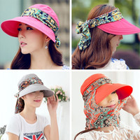 Wholesale Fashion Face Protection Sun Hat Summer Hats For Women Foldable Anti UV Wide Big Brim Adjustable Women Hat Summer