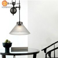 adjustable height pendant - New Products For Height Is Adjustable For Glass Shade Creative Loft RH Style Pendant Lamp For Decoration order lt no track