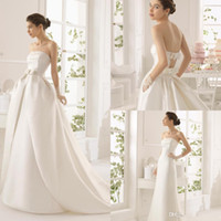Cheap 2014 Unique Design Detachable Skirt Wedding Dress with Pocket High Quanlity Satin Strapless Bow A-line Plus Size Wedding Bridal Dresses