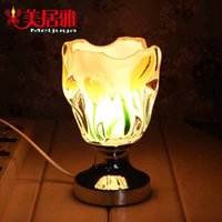 aroma lamp manufacturers - Manufacturers Creative glass aroma lamps painted tulips plug Nightlight e commerce gift B1981