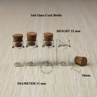 Cheap 50x 1ml small mini glass vials jars bottles with cork stoppers decorative corked tiny glass bottle for pendants wishing bottle