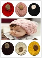 baby girl berets - Hot Selling Cute Unisex Baby Infant Toddlers Knitted Beanie Hats Winter Warm Girls Children Kids Solid Berets Crochet Caps Christmas Gift