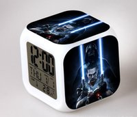 Wholesale 100pcs mixed styles D Cartoon Star Wars Square Digital Alarm Clock Led Color Change Darth Vader Clock Christmas Decoration Gift Clock