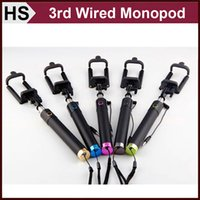 Wholesale NEWEST Mini Wired Selfie Stick Monopod For Cell Phones Android SAMSUNG iPhone rd Generation Handheld Extendable Groove Retailbox DHL