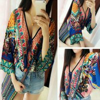 tunic tops - Women Blouse Vintage Women Peasant Ethnic Floral Boho Loose Tops Tunic Indian Gypsy Beach V neck sexy Blouse