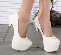 Wholesale white Black wedding shoes cm super High Heels party shoes Pumps Stilettos heels Platform Peep Toe pumps Ladies dress Shoes women