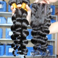 Cheap Malaysian Hair closure with bundles Best Loose Wave 10
