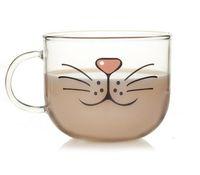 achat en gros de tasses zakka-Gros-claires tasse en verre de Cat kawaii mignon tasse en verre borosilicate Zakka nouveauté drinkware vaso Calavera cristal snackeez bière de vin tasses à thé