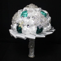 Cheap Custom Made Romantic Wedding Bouquets 2015 Cheapest Crystal Rhinestone Pearls Bridal Bouquets Handmade Artificial Rose Wedding Favors Unique