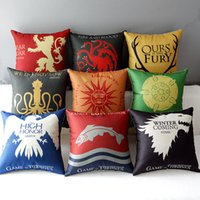 adult car games - 18 quot Square Game of Thrones Cotton Linen Cushion Cover Sofa Decorative Throw Pillow Home Chair Car Seat Pillow Case almofadas CN001