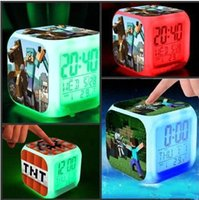 Wholesale 2016 New Arrival Cheap Retail Minecraft Alarm Clock LED Change Digital Alarm Clock Night Colorful Changing Clock Kids Christmas Gifts MYF244