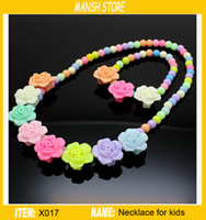 Wholesale four moulds kids necklace and bracelet plastic type kids Jewelry gift colorfule and good quality