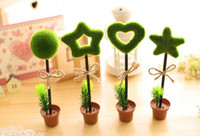 Wholesale New lovely green plants flower pot shape ballpoint pens four style plastic material can paste on the table used for office and stationery
