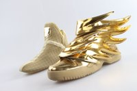 Wholesale Hot sale design JS Wings gold shoes fashion lovers causal wings Fleece leather shoes men women leisure sneakers size