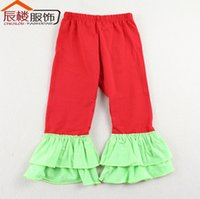 Wholesale Boutique colors Ruffle Pants baby kids pants ruffled pant girls solid ruffled cotton leggings christmas pants