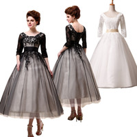 Crew empire waist - 2015 A line Tea Length Black White Prom Dresses Sleeves Empire Waist Lace up Elegant Formal Appliques Evening Party Gowns SD036
