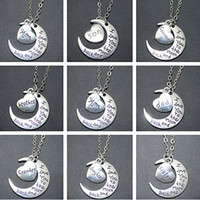 Wholesale I Love You To The Moon and Back Pendants Necklaces Daughter Uncle Dad Mom Grandpa Grandma Sister Son Brother Charms Women jewelry Alloy Gift