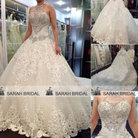 Ruffle bling wedding dress - 2015 Newest Luxury Wedding Dresses With Halter Crystals Beads Backless Chapel Train Lace Bling Bling Customised White Ivory Bridal Ball Gown