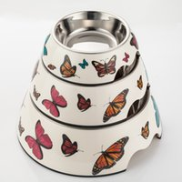 melamine dog bowl - Pet Food Bowl Butterfly Pattern Melamine Stainless Steel Dog Bowls High Quality Personalised Dog Bowls Three Size BL002