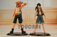 Wholesale 2 pc Japanese Anime Cartoon One Piece Brotherhood figures Luffy Ace Figures PVC Tos Doll gift