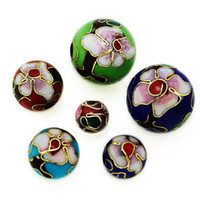 Wholesale 100pcs Fashion mm Round Enamel Cloisonne Spacer Loose Beads Carve Flower Colors U Pick For Jewelry Macking DIY Beads BJH005