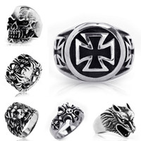 Wholesale New Gothic Punk Cross Rings Men Stainless Steel Vintage Brand Rings Fashion Jewelry Multicolor Gift Mix Order
