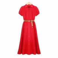 achat en gros de xxl mi robe de veau noir-À manches courtes rouge robes noires solides Ladies robes élégantes avec la taille Jupettes Robes mi-mollet longue robe plissée plus XXL Vestidos