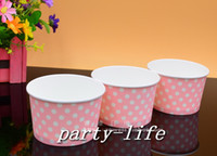 ice cream paper cup - 1000pcs small Pink with white Polka Dot ice cream paper cup paper bowl Yogurt paper cup