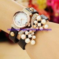 Wholesale luxury new women bead butterfly diamond bracelets watches leather crystal retro ladies quartz wristwatch for women