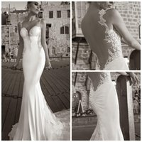 Cheap Sexy Vintage Mermaid Lace Beach Wedding Dresses Sweetheart Spaghetti Strap Backless Applique Lace Cathedral Train Stretch Satin Bridal Dress