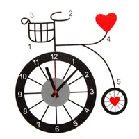 bicycle wall clock - New Beautiful Heart Bicycle Wall Clock Home Living Room Bedroom Modern Wall Sticker The Best Quality order lt no track