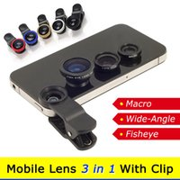 Wholesale FREE DHL Universal in Wide Angle Macro Lens Fisheye Fish Eye Lens Mobile Phone Clip Lens For iPhone S S S4 S5 All Cellphones