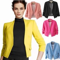 Wholesale Blazer feminino Spring Chaquetas Mujer New OL Work Candy Color Thin Outerwear Coat Casual Mini Short Blazer Women Suit Jacket OXL051301