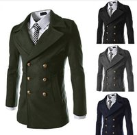 Wholesale 2014 new winter coats Korean men metal double breasted wool coat long paragraph Outerwear black
